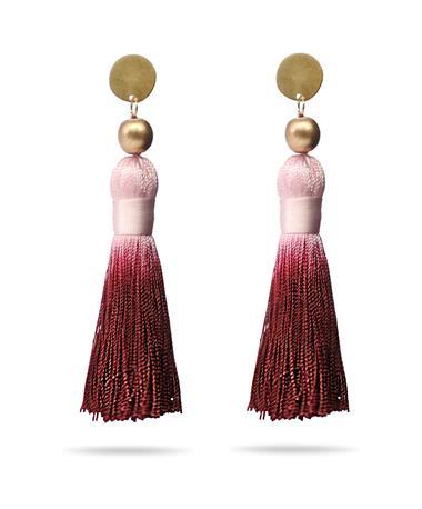 Maroon & Pink Tassel Earrings