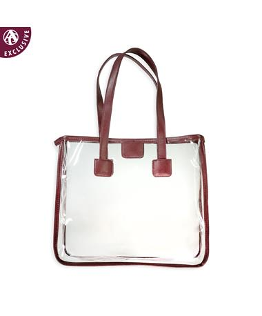 Maroon Leather Strap Clear Tote