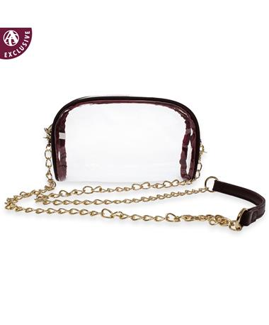 Maroon & Clear Crossbody With Gold Chain
