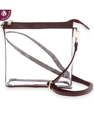 Maroon Leather Clear Crossbody