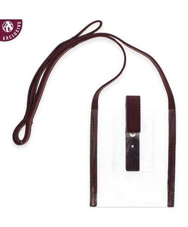 Maroon Leather Clear Phone Holder Cross Body