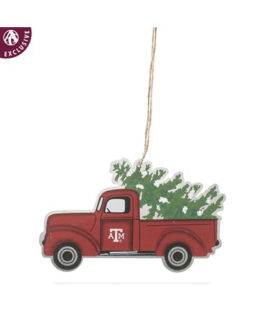 Texas A&M Block Truck & Tree Ornament