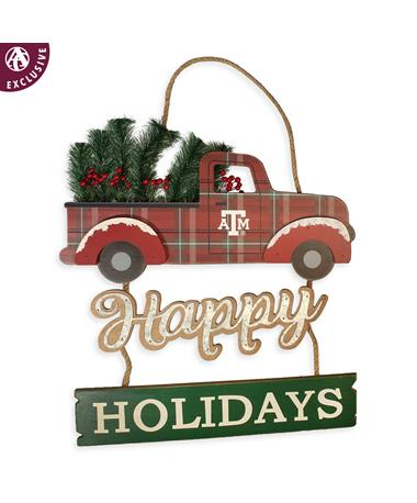 Texas A&M Truck & 3D Tree Happy Holidays Sign