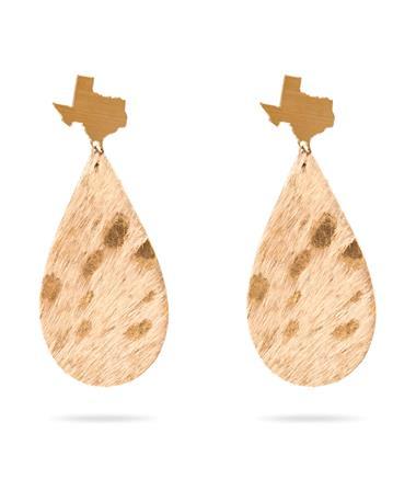 Gold Cowhide Texas Stud Earring