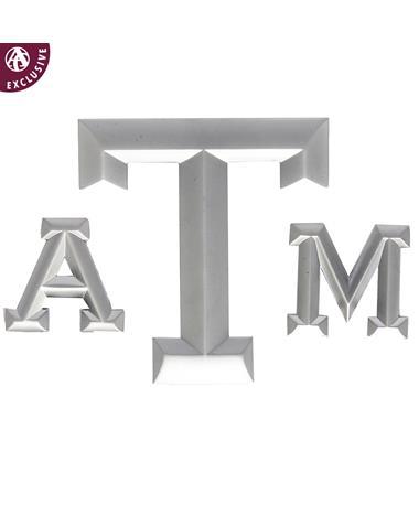 Texas A&M Three Piece Silver Matte Emblem