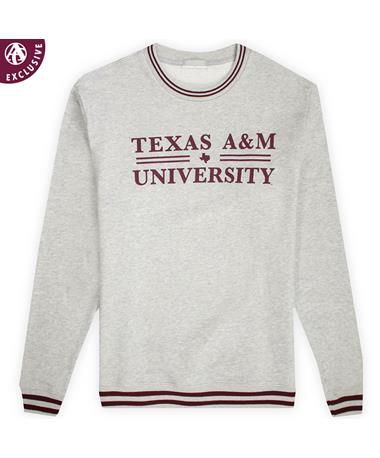 Texas A&M Basic Bar Striped Crewneck Sweatshirt