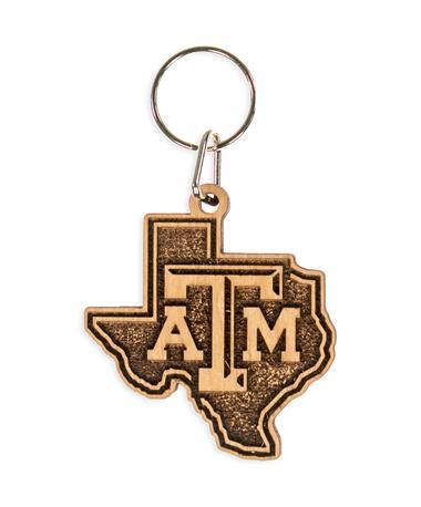 Texas A&M Lone Star Wood Keychain