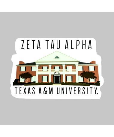 Texas A&M Zeta Tau Alpha House Dizzler Sticker