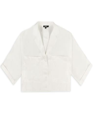 Silky Pocket Button Down Blouse