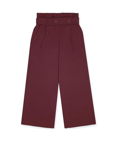 Maroon Woven Flared Belted Pants