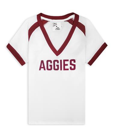 Texas A&M Aggies Polly V-Neck Ringer Tee