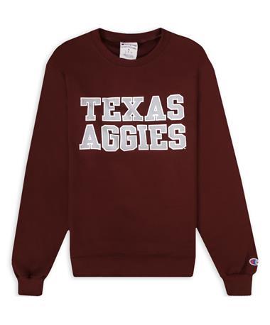 Texas A&M Texas Aggies Champion Maroon Powerblend Crewneck