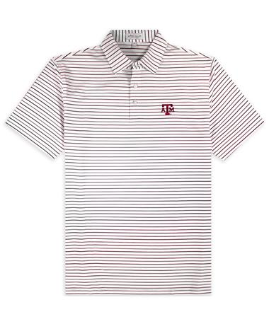 Texas A&M Peter Millar Stripe Strech Jersey Polo