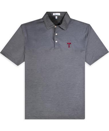 Texas A&M Peter Millar Engineered Striped Block T Jersey Polo