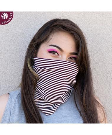 Maroon & White Striped Gaiter Face Mask