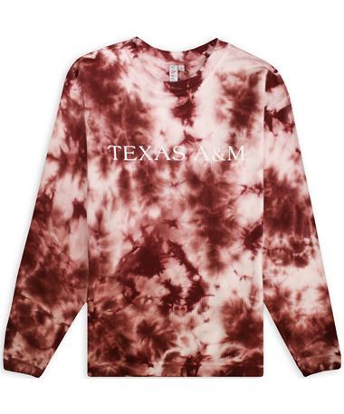 Texas A&M Maroon Tie Dye Corded Crew Sweatshirt