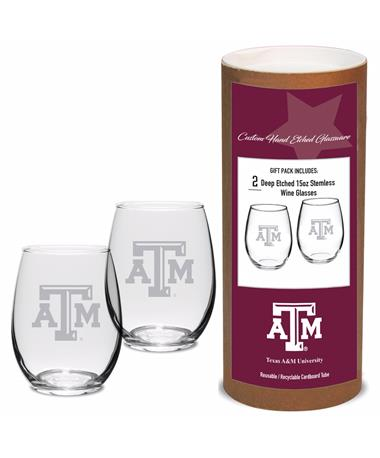 DROPSHIP ITEM: Texas A&M Campus Crystal Stemless Wine Set