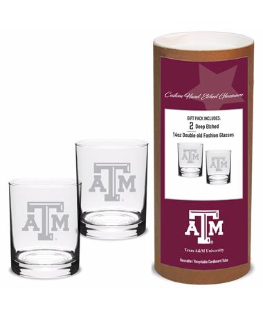 Texas A&M Campus Crystal Old Fashioned Set
