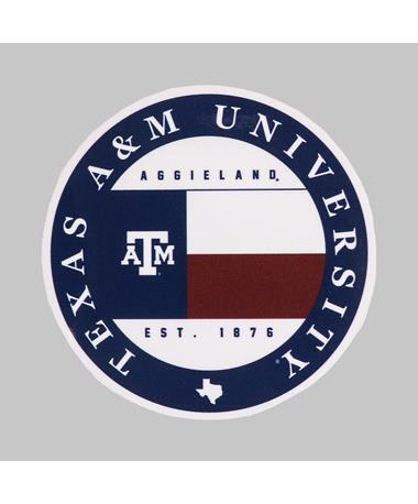 Texas A&M Texas Flag Circle Dizzler Sticker