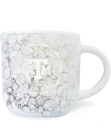 Texas A&M White Marble Etched Seal Mug