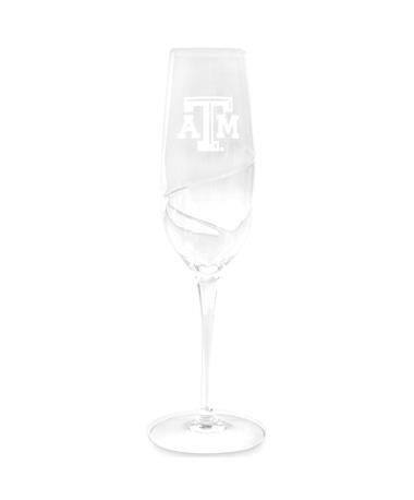Texas A&M Luigi Champagne Swirl Flute Glass