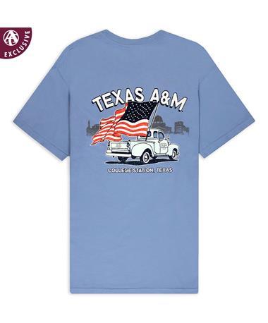 Texas A&M American Flag & Old Truck T-Shirt
