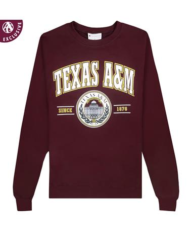 Texas A&M Champion Arched Seal Powerblend Crewneck