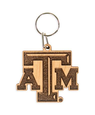 Texas A&M Wood Keychain