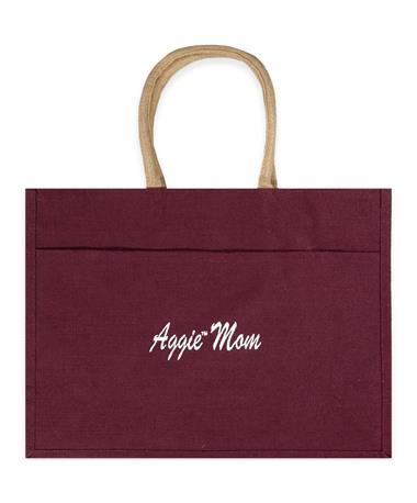 Maroon Aggie Mom Jute Tote