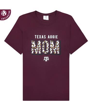 Texas A&M Leopard Aggie Mom T-Shirt