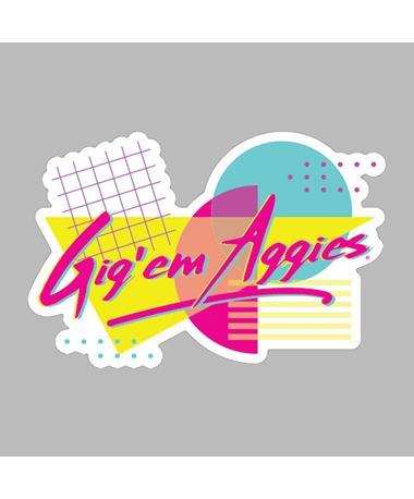 Gig 'Em Aggies Retro Dizzler Sticker