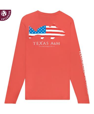 Texas A&M Bass USA Long Sleeve Performance Tee