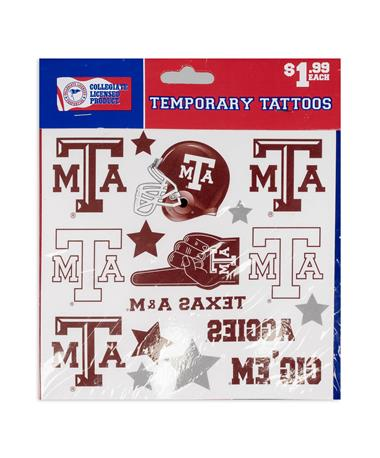 Texas A&M Metallic Tattoo Set