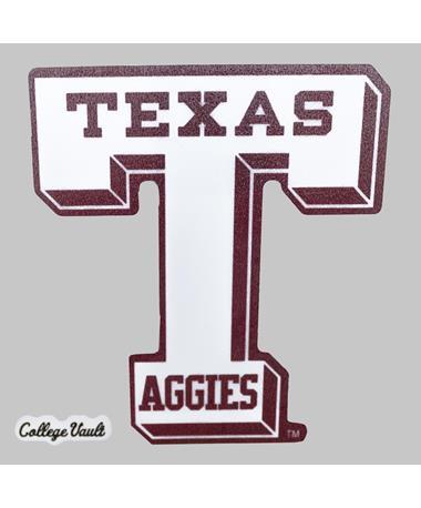 Texas A&M Aggies White Vault-T Decal