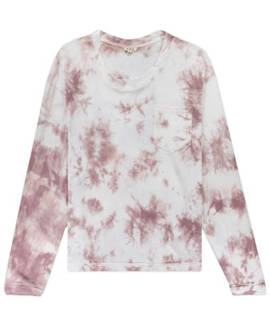 Maroon Splash Long Sleeve Tie Dye Top