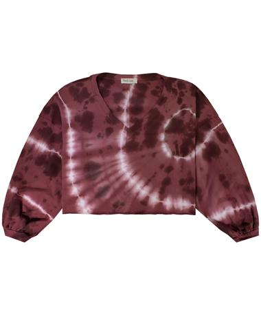 Maroon Tie Dyed V-Neck Knit Crop Top