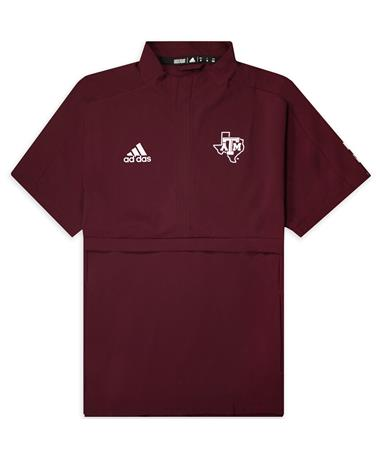 Texas A&M Adidas Sideline Woven Short Sleeve 1/4 Zip