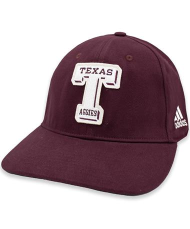 Texas A&M Aggies Adidas Vault T Cotton Slouch Stretch Fitted Hat
