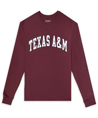 Texas A&M Mens Champion Superfan LS Tee-Sueded