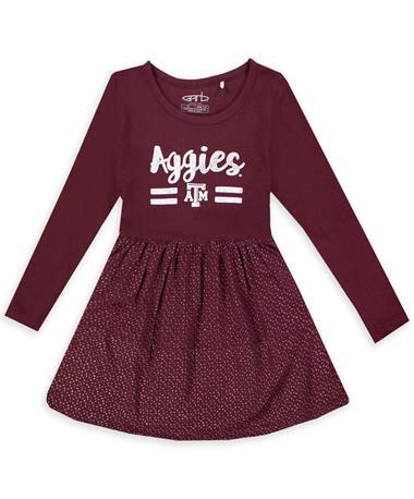 Texas A&M Garb Lula Toddler Metallic Print Dress