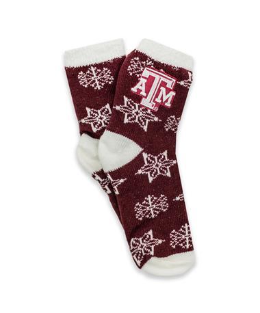 Texas A&M Fuzzy ZooZatz Snowflake Socks