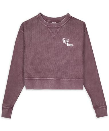 Maroon Gig 'Em Corded Boxy Crop Pullover