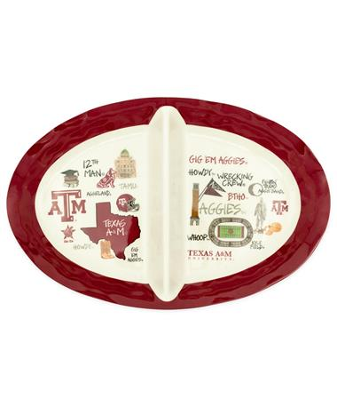 Texas A&M Magnolia Lane 2 Section Collage Dish