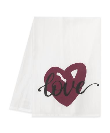 Maroon Heart Love Tea Towel