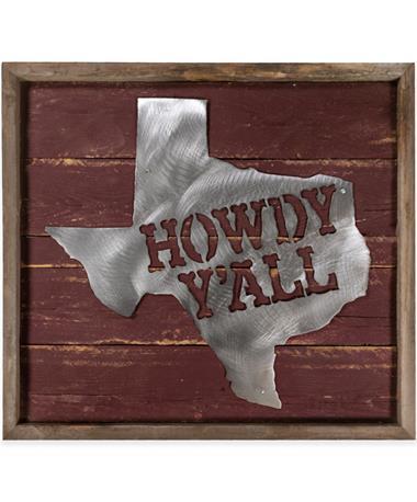 Maroon Howdy Y'all Texas Sign