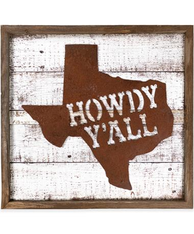 White Howdy Y'all Texas Sign