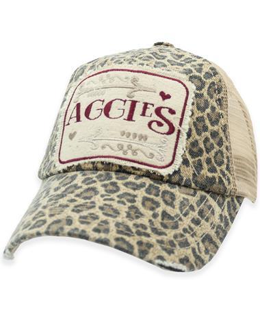 Aggies Square Patch Leopard Hat