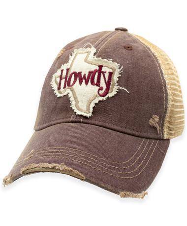 Maroon Howdy Texas Tan Mesh Back Hat