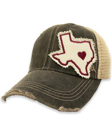 Maroon Heart Texas Mesh Back Hat