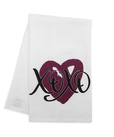 Maroon Heart XOXO Tea Towel